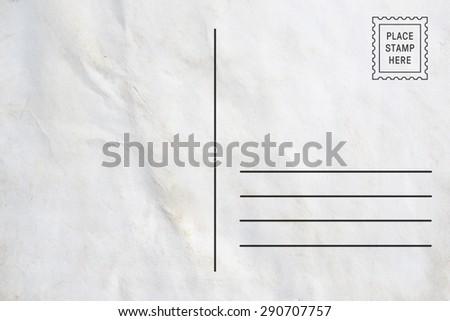 Back side of postcard - stock photo