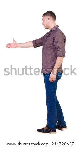Back side view of man  in shirt handshake.   Isolated over white background.  - stock photo