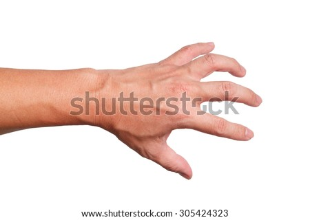 Back  Strong Hand grabbing or reaching for Something isolated on white back ground   - stock photo