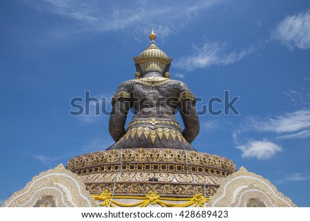 Back The Big Buddha(phraphuthth- mha-thrrm-racha) at phetchabun province,Thailand. - stock photo