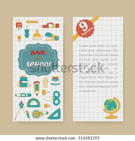 back to school banner with lovely stationery - stock photo