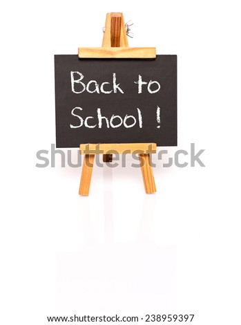 Back to school. Blackboard with easel with text. Photo on white with shadow and reflection. - stock photo