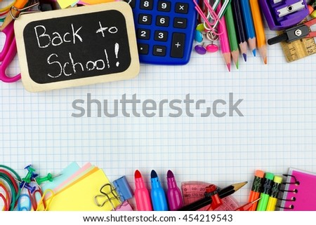 Back to School chalkboard tag with school supplies double border on graphing paper background - stock photo