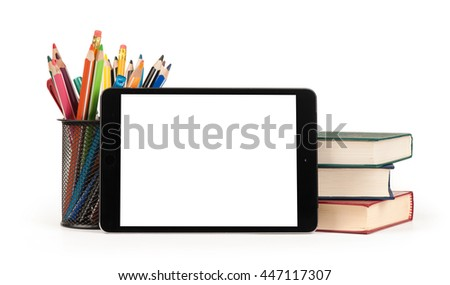 Back to school concept. Digital tablet with text area, pencils and books. Isolated on white background - stock photo