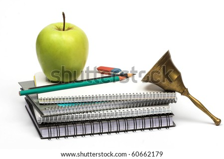 back to school concept- notebooks apple and school-bell - stock photo