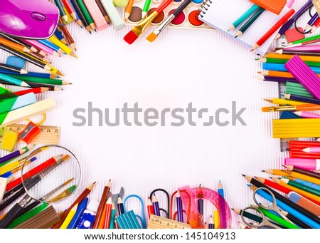 Back to school concept Photo of Items for school student gear  over white Corrugated cardboard background - - stock photo