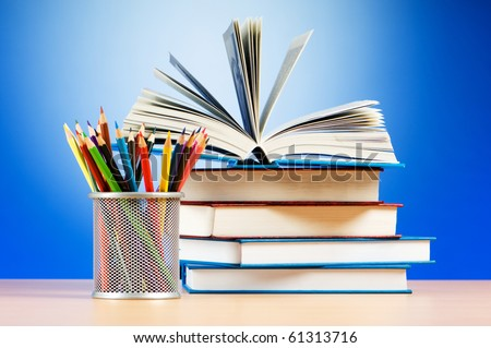Back to school concept with books and pencils - stock photo