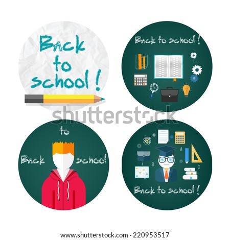Back to school concept with item icons. Book calculator briefcase. Back to school concept text on chalkboard with student. Raster version - stock photo