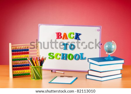 Back to school concept with many items - stock photo