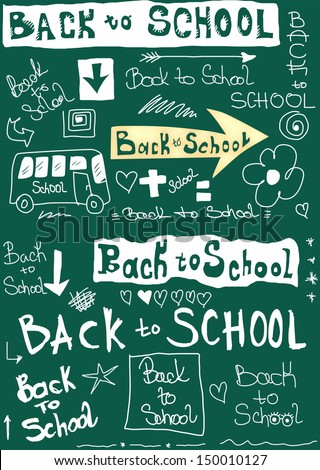Back to school, doodle word school background - stock photo