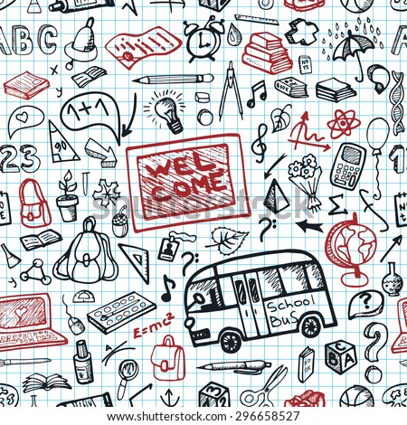 Back to School  doodles Supplies seamless pattern.Sketchy Notebook.Hand Drawing icons elements.Illustration,background,backdrop,wrap,wallpaper ornament.Baby style,Education,Teachers day - stock photo