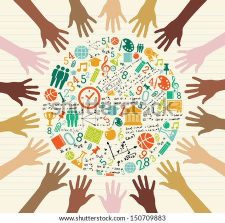 Back to School global icons education diversity human hands. - stock photo