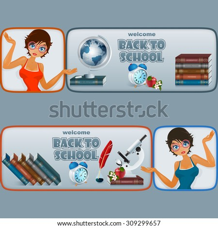 Back to school, graphic, design web banner/header; Set of banners with cartoon girl character and primary subject matter, school books, Earth globe, microscope alarm clock, apple and flowers - stock photo