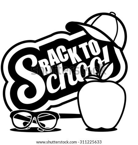 Back to School icon. Illustration for greeting card, ad, promotion, poster, flier, blog, article, social media, marketing - stock photo