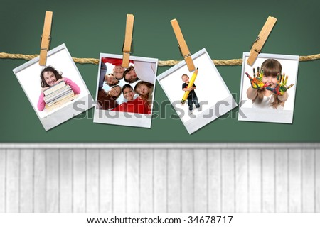 Back To School Kids on a Chalk Board Background - stock photo