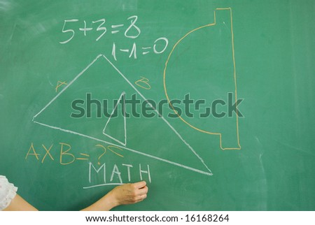 Back to school - math formula on green chalkboard - stock photo