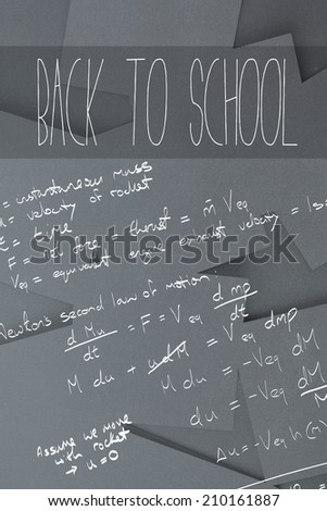 Back to school message against digitally generated grey paper strewn - stock photo