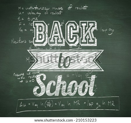Back to school message against green chalkboard - stock photo