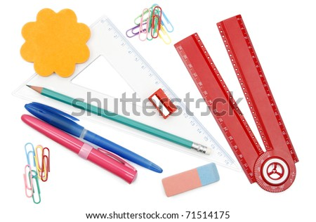 Back to school objects isolated on white background - stock photo
