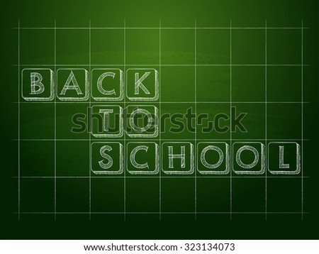 back to school on green checkered blackboard, education concept - stock photo