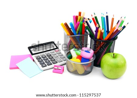 Back to school.  On white background. - stock photo