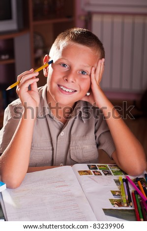 Back to school. Portrait of young boy - stock photo