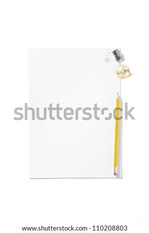 Back to School pupils art pad and pencil on white school desk shot above - stock photo