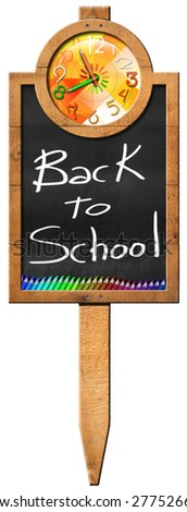 Back to School. Rectangular wooden sign with blackboard with a colorful clock, text Back to School and colored pencils. Hanging on a wooden pole and isolated on a white background - stock photo