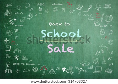 Back to school sale advertisement on green chalkboard encircled by freehand doodle sketch drawing: Sketchy pastel chalk doodles drawn on blackboard with texts announcement of back to school sale   - stock photo