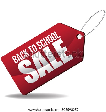 Back to school sale tag Illustration for greeting card, ad, promotion, poster, flier, blog, article, social media, marketing - stock photo