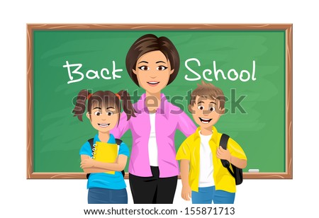 Back to school, School teacher with schoolboy and schoolgirl - stock photo