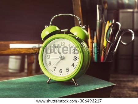 Back to school. Schoolchild and student studies accessories.   - stock photo