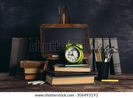 Back to school. Schoolchild and student studies accessories. Education background concept with copyspace - stock photo