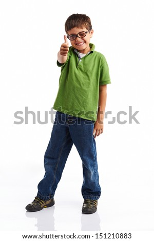 Back to school series: Young happy little boy isolated on white background - stock photo