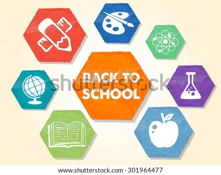 back to school text with signs, colorful grunge drawn flat design hexagons labels with educational symbols, education concept - stock photo