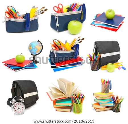Back to school. The big set of works on school subjects. On a white background. - stock photo