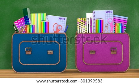 Back to school. Two vintage backpacks full of school supplies for boys and girls into a classroom. - stock photo