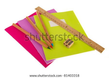 Back to school with exercise books pencils and ruler - stock photo