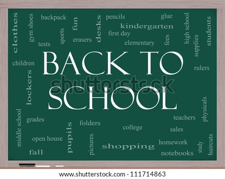 Back to School Word Cloud Concept on a Blackboard with great terms such as teachers, students, supplies, sales, tests, glue and more. - stock photo