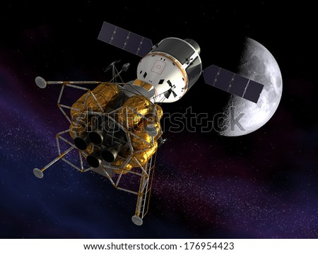Back To The Moon. 3D Scene. Elements of this image furnished by NASA.  - stock photo