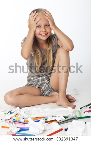 Back to the school. Sad little schoolgirl have stress while studying  - stock photo