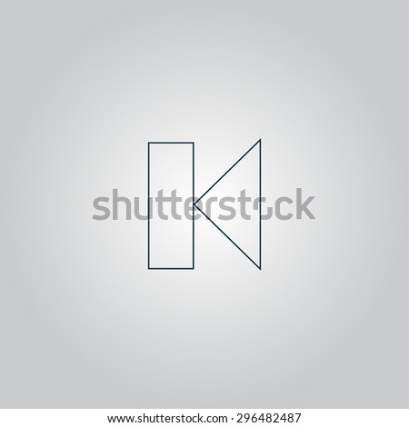 Back Track arrow Media player control button. Flat web icon or sign isolated on grey background. Collection modern trend concept design style  illustration symbol - stock photo