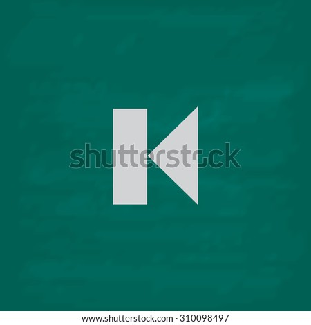 Back Track arrow Media player control button.  Icon. Imitation draw with white chalk on green chalkboard. Flat Pictogram and School board background. Illustration symbol - stock photo