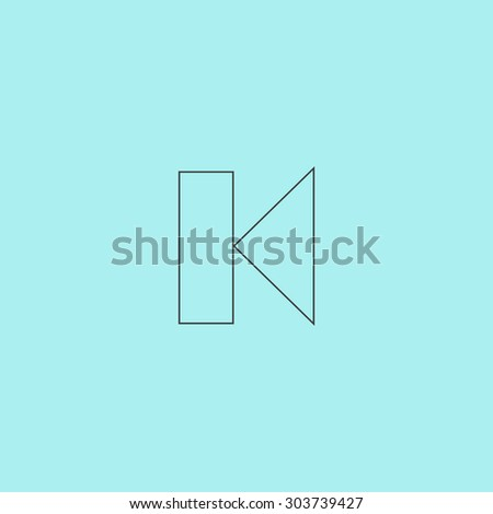 Back Track arrow Media player control button. Outline simple flat icon isolated on blue background - stock photo