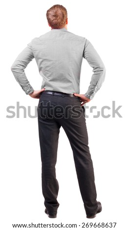back view Business man  looks ahead. Rear view people collection.  backside view of person.  Isolated over white background. broad-office worker put his hands on his hips thoughtfully reflects - stock photo