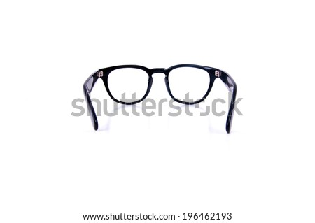 Back View, Clear Eyeglasses Glasses with Black Frame Fashion Vintage Style Isolated on white background. - stock photo