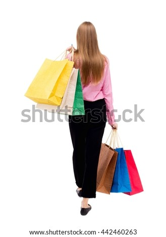 back view going woman with shopping bags. beautiful girl in motion. backside view person. Rear view people collection. Isolated over white background woman in pink shirt went off throwing shoulder bag - stock photo