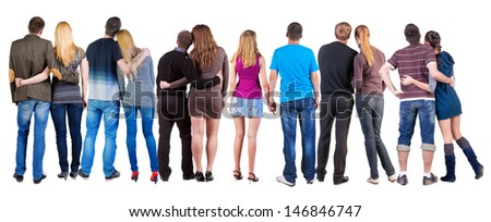 Back view group of couple. Rear view people pair collection.  backside view of person.  Isolated over white background. - stock photo