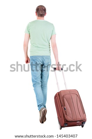 back view man with suitcase. brunette guy waves his hand.  backside view of person.  Rear view people collection. Isolated over white background. guy with the travel bag waving to someone in distance - stock photo