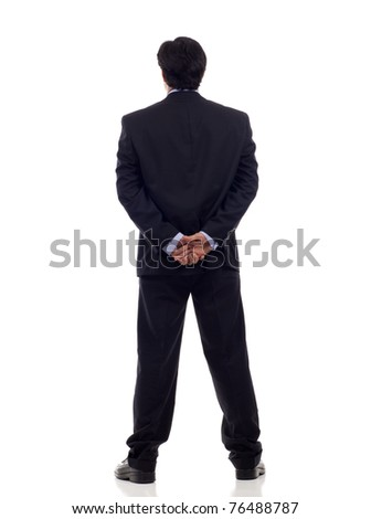 Back view of a Asian businessman isolated on white background - stock photo